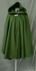 "Cloak:2572, Cloak Style:Cape / Ruana extra long (34"") over the shoulder, Cloak Color:Dark Olive Green, Fiber / Weave:Light Weight Windpro, Cloak Clasp:Vale, Hood Lining:Unlined, Back Length:39"", Neck Length:24"", Seasons:Fall, Spring, Southern Winter."