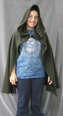 "Cloak:2580, Cloak Style:Elven Hobbit Cloak, Cloak Color:Dark Pine Green, Fiber / Weave:Washed Birdseye Wool, Cloak Clasp:Alpine Knot - Silvertone, Hood Lining:Unlined, Back Length:28"", Neck Length:24"", Seasons:Summer."