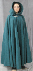 "Cloak:2584, Cloak Style:Full Circle Cloak, Cloak Color:Spruce Blue-Green, Fiber / Weave:Double Layer Wool Flannel, Cloak Clasp:Gothic Heart, Hood Lining:Self-lining, Back Length:48"", Neck Length:22"", Seasons:Winter, Fall, Spring."