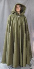 "Cloak:2589, Cloak Style:Full Circle Cloak, Cloak Color:Olive Green, Fiber / Weave:Wind-Blocking Fleece, Cloak Clasp:Gothic Heart, Hood Lining:Unlined, Back Length:54"", Neck Length:26"", Seasons:Fall, Winter, Spring."