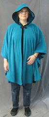 Cloak:2600, Cloak Style:Cape / Ruana, Cloak Color:Teal with black edge binding, Fiber / Weave:Hi Loft Fleece (long silky fur inside) with durable water resistant finish. Stretch Velvet edge binding., Cloak Clasp:Ornate Chinese Knotwork Black Frog Closure, Hood Lining:Self-lining - Marine Blue, Back Length:40.5&quot;, Neck Length:21&quot;, Seasons:Southern Winter, Fall, Spring, Note:This Hi-Loft fleece cloak blocks more wind than<br>a basic fleece and has a durable water resistant outer finish!<br>It&#039;s perfect for cool,<br>rainy, windy climates.<br>Machine washable cold gentle, tumble dry low.<br>Throw it on and go!.