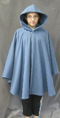Cloak:2604, Cloak Style:Cape / Ruana extra long (31&quot;) over the shoulder, Cloak Color:Colonial Blue, Fiber / Weave:WindPro Herringbone Fleece (wool-like exterior), Cloak Clasp:Plain Rope<br>Hook & Eye, Hood Lining:Self-lining, Back Length:33&quot;, Neck Length:25&quot;, Seasons:Fall, Spring, Southern Winter, Winter, Note:Luxurious, functional, and economically friendly!<br>This windpro cloak blocks more wind than a basic fleece<br>and has a water-repelling outer finish! It&#039;s perfect<br>for New England winters and cold, rainy, windy climates.<br>The inside of the fabric wicks up moisture keeping you dry and warm.<br>Machine washable cold gentle, tumble dry low<br> Throw it on and go!<br>Note, the model is 4&#039; 10&quot;.