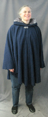 "Cloak:2608, Cloak Style:Cape / Ruana, Cloak Color:Dark Royal Blue, Fiber / Weave:70% Wool, 20% Cashmere, 10% nylon, Cloak Clasp:Vale, Hood Lining:Grey stretch Poly Velvet, Back Length:37"", Neck Length:21.5"", Seasons:Winter, Fall, Spring."