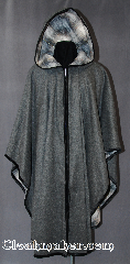 Cloak:2610, Cloak Style:Classic Ruana with zipper, Cloak Color:Grey / Silvery Grey, Dark Grey, Cream,<br>White & Taupe Plaid with black edge binding, Fiber / Weave:Medium Weight Brushed Wool Coating /<br>Wool blend suiting<br>Stretch nylon velvet edge binding, Cloak Clasp:Zipper, Hood Lining:White and Taupe Plaid wool blend, Back Length:45&quot;, Neck Length:23&quot;, Seasons:Winter, Fall, Spring.