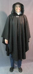 "Cloak:2611, Cloak Style:Full Circle Cloak, Cloak Color:Black, Fiber / Weave:Midweight Wool Flannel, Cloak Clasp:Vale, Hood Lining:Emerald Crushed Polyester Velvet, Back Length:43"", Neck Length:23"", Seasons:Fall, Spring, Southern Winter."