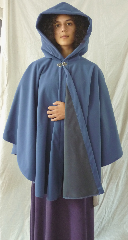 Cloak:2615, Cloak Style:Cape / Ruana, Cloak Color:French Blue / Grey 2 toned, Fiber / Weave:Windblock Polar Fleece, Cloak Clasp:Vale, Hood Lining:Self-lining, Back Length:35&quot;, Neck Length:22&quot;, Seasons:Winter, Fall, Spring, Note:A cross between a cape and a cloak, a ruana<br>is a great way to keep warm while<br>frequent, unhindered use of your arms <br>is needed. Ruanas make great driving cloaks!<br>This one is made from windblock polar fleece<br> which is both wind proof and water resistant.<br>Machine washable on gentle and tumble dry low inside out..