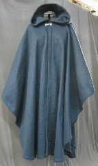Cloak:2629, Cloak Style:Cape / Ruana extra long (31&quot;) over the shoulder, Cloak Color:Steel Blue, Fiber / Weave:Fleece, Cloak Clasp:Alpine Knot - Silvertone, Hood Lining:Unlined, Back Length:44&quot;, Neck Length:22&quot;, Seasons:Fall, Spring, Summer, Note:Lightweight economy fleece provides warmth with<br>very little weight.&nbsp;Suitable for indoor wear, late spring,<br>early fall, or cool summer evenings.<br>Machine washable cold, tumble dry low.<br>Throw it on and go!.