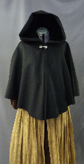 "Cloak:2630, Cloak Style:Cape / Ruana / Shaped Shoulder, Cloak Color:Black, Fiber / Weave:100% Cashmere, Cloak Clasp:Alpine Knot - Silvertone, Hood Lining:Black Silk Velvet, Back Length:25"", Neck Length:21"", Seasons:Southern Winter, Fall, Spring, Note:Dry Clean only."