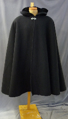 "Cloak:2632, Cloak Style:Full Circle Cloak, Cloak Color:Black, Fiber / Weave:Textured Double 100% Wool, Cloak Clasp:Vale, Hood Lining:Black Silk Velvet, Back Length:43"", Neck Length:20"", Seasons:Winter, Fall, Spring, Note:Dry Clean only."