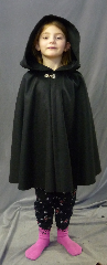 Cloak:2633, Cloak Style:Fuller Half Circle Short, Cloak Color:Black, Fiber / Weave:80% Wool / 20% Nylon, Cloak Clasp:Alpine Knot - Silvertone, Hood Lining:Unlined, Back Length:24.5&quot;, Neck Length:17.5&quot;, Seasons:Southern Winter, Fall, Spring, Note:Child size, shown on a 5 year old.<br>Dry Clean only.