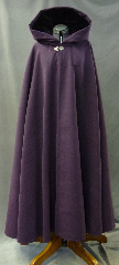 "Cloak:2634, Cloak Style:Full Circle Cloak, Cloak Color:Dark Plum Purple, Fiber / Weave:Polyester Faux Wool, Cloak Clasp:Vale, Hood Lining:Black Silk Velvet, Back Length:51"", Neck Length:21"", Seasons:Winter, Fall, Spring, Note:Machine Wash Cold, Tumble Dry Low."