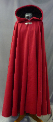 "Cloak:2637, Cloak Style:Full Circle Cloak, Cloak Color:Blood Red, Fiber / Weave:100% Wool, Cloak Clasp:Gothic Heart, Hood Lining:Black Silk Velvet, Back Length:52"", Neck Length:21"", Seasons:Winter, Fall, Spring, Note:Dry Clean only."