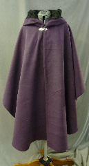"Cloak:2639, Cloak Style:Cape / Ruana, Cloak Color:Dark Plum Purple, Fiber / Weave:Polyester Faux Wool, Cloak Clasp:Vale, Hood Lining:Black Vined Flocked Polyester, Back Length:41.5"", Neck Length:20"", Seasons:Winter, Fall, Spring, Note:Machine Wash Cold, Tumble Dry Low."