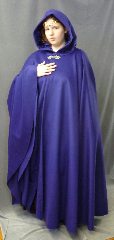 "Cloak:2643, Cloak Style:Full Circle Cloak, Cloak Color:Royal Purple Blue, Fiber / Weave:Wool / cashmere, Cloak Clasp:Gothic Heart, Hood Lining:Royal Blue Acetate Velvet, Back Length:52"", Neck Length:27"", Seasons:Winter, Fall, Spring."