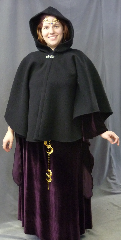 "Cloak:2645, Cloak Style:Cape / Ruana extra long (21"") over the shoulder, Cloak Color:Black, Fiber / Weave:Heavy Wool Melton, Cloak Clasp:Vale, Hood Lining:Unlined, Back Length:28"", Neck Length:21"", Seasons:Winter, Fall, Spring."
