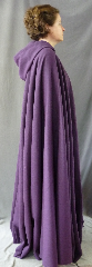"Cloak:2655, Cloak Style:Full Circle Cloak, Cloak Color:Purple, Fiber / Weave:Wool Blend Coating Ribbed, Cloak Clasp:Vale, Hood Lining:Unlined, Back Length:57"", Neck Length:22"", Seasons:Spring, Fall."