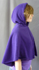 Cloak:2664, Cloak Style:Slightly Fuller Half Circle Cloak, Cloak Color:Bright Royal Purple, Fiber / Weave:Midweight Fleece with sweater weave surface, Hood Lining:Unlined, Back Length:22&quot;, Neck Length:17.5&quot;, Seasons:Fall, Spring, Southern Winter, Note:This beautiful slightly fuller half circle cloak<br>is wonderful for a child, but can be worn<br>by a petite adult as shown.<br>Machine washable cold gentle, tumble dry low..