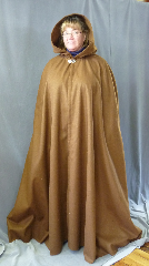 "Cloak:2670, Cloak Style:Shaped Shoulder, Cloak Color:Cinnamon Brown, Fiber / Weave:100% Wool, Cloak Clasp:Vale, Hood Lining:Unlined, Back Length:58"", Neck Length:21"", Seasons:Southern Winter, Fall, Spring."