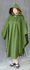 Cloak:2673, Cloak Style:Cape / Ruana, Cloak Color:Bright Olive Green, Fiber / Weave:50% Cashmere / 50% wool, Cloak Clasp:Vale, Hood Lining:Green Silk Velvet, Back Length:48&quot;, Neck Length:21&quot;, Seasons:Fall, Spring, Note:There is a small surface imperfection<br>on left shoulder (near hem)<br>see picture on detail page.<br> Note, tag says 100% wool - it should be<br>100% natural fibers..