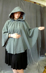 "Cloak:2675, Cloak Style:Full Circle Short Cloak, Cloak Color:Sea Foam Green, Fiber / Weave:Plush Wool Coating, Cloak Clasp:Antiquity, Hood Lining:Unlined, Back Length:32"", Neck Length:20"", Seasons:Spring, Fall, Southern Winter."