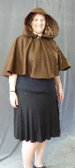 Cloak:2676, Cloak Style:Full Circle Short Cloak, Cloak Color:Brown, Fiber / Weave:Wool Blend, Cloak Clasp:Plain Rope<br>Hook & Eye, Hood Lining:Unlined, Back Length:22&quot;, Neck Length:21&quot;, Seasons:Winter, Fall, Spring.
