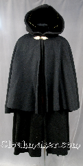 Cloak:2683, Cloak Style:Highwayman&#039;s Coat with Full Circle 31&quot; Mantle<br>arm slits at shoulder, Cloak Color:Black, Fiber / Weave:Heavy Wool Melton Mantle<br>Heavy Brushed Felted Wool Melton Coat, Cloak Clasp:Red Elm, Hood Lining:Black Silk Velvet, Back Length:50&quot;, 31&quot; Mantle, Neck Length:23&quot;, Seasons:Winter, Fall, Spring, Note:This Coachman / Highwayman / Statesman<br>coat features a full circle mantle<br>arm openings at the shoulder<br>and a split in the back to aid in movement.<br>Features a Red Elm hook and eye clasp..