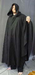Cloak:3256, Cloak Style:Full Circle Cloak, Cloak Color:Black, Fiber / Weave:Economy Fleece, Cloak Clasp:Antiquity, Hood Lining:Unlined, Back Length:59&quot;, Neck Length:25&quot;, Seasons:Fall, Spring, Note:Lightweight black economy fleece provides<br>a warmth with very little weight.<br>Suitable for indoor wear late spring,<br>early fall, cool summer evenings or<br>just snuggling on the couch. <br>Machine washable.<br>Antiquity clasp perfect for <br>football spectators and players.