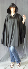 "Cloak:2704, Cloak Style:Full Circle Cloak, Cloak Color:Black, Fiber / Weave:Polyester Satin, Cloak Clasp:Alpine Knot - Silvertone, Hood Lining:Unlined, Back Length:36"", Neck Length:20"", Seasons:Summer, Spring, Fall."
