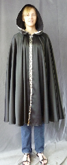 Cloak:2707, Cloak Style:Full Circle Cloak with Black/Silver Scrollwork Trim, Cloak Color:Black, Fiber / Weave:Polyester Satin, Cloak Clasp:Plain Rope<br>Hook & Eye, Hood Lining:Unlined, Back Length:44&quot;, Neck Length:19.5&quot;, Seasons:Spring, Fall, Summer.