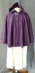 "Cloak:2708, Cloak Style:Full Circle Short Cloak, Cloak Color:Grape, Fiber / Weave:Corded Wool 50%, Cloak Clasp:Alpine Knot - Silvertone, Hood Lining:Unlined, Back Length:26"", Neck Length:20"", Seasons:Spring, Fall, Southern Winter."