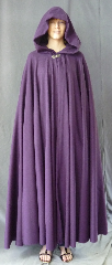 "Cloak:2709, Cloak Style:Full Circle Cloak, Cloak Color:Grape, Fiber / Weave:Corded Wool 50%, Cloak Clasp:Vale, Hood Lining:Unlined, Back Length:56"", Neck Length:20"", Seasons:Spring, Fall, Southern Winter."