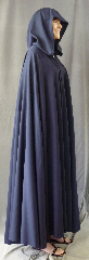 "Cloak:2714, Cloak Style:Full Circle Cloak, Cloak Color:Navy Blue, Fiber / Weave:100% Worsted Wool Gabardine Suiting, Cloak Clasp:Alpine Knot - Silvertone, Hood Lining:Unlined, Back Length:53"", Neck Length:22"", Seasons:Summer, Fall, Spring."