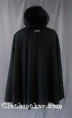 "Cloak:2724, Cloak Style:Full Circle Cloak, Cloak Color:Black, Fiber / Weave:Upholstery Weight Synthetic Velvet, Cloak Clasp:Vale, Hood Lining:Unlined, Back Length:38"", Neck Length:20"", Seasons:Fall, Spring, Southern Winter, Winter."