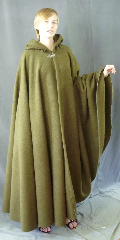 "Cloak:2725, Cloak Style:Full Circle Cloak, Cloak Color:Deep Moss Green, Fiber / Weave:Windpro Fleece, Cloak Clasp:Vale, Hood Lining:Self-lining, Back Length:55"", Neck Length:22"", Seasons:Fall, Spring, Southern Winter, Winter, Note:This cloak is not durable water resistant."