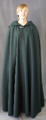 "Cloak:2729, Cloak Style:Shaped Shoulder Cloak with liripipe, Cloak Color:Spruce Blue-Green, Fiber / Weave:Wool Gabardine, Cloak Clasp:Antiquity, Hood Lining:Unlined, Back Length:56"", Neck Length:22"", Seasons:Fall, Spring, Summer."