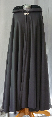 "Cloak:2740, Cloak Style:Full Circle Cloak, Cloak Color:Black, Fiber / Weave:80/20 Wool Blend, Cloak Clasp:Vale, Hood Lining:Dark Green Silk Velvet, Back Length:53"", Neck Length:21.5"", Seasons:Winter, Fall, Spring."