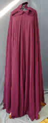 "Cloak:2747, Cloak Style:Full Circle Cloak, Cloak Color:Cranberry, Fiber / Weave:60% Worsted Wool, 40% Rayon, Cloak Clasp:Byzantine Swirls - Pewter, Hood Lining:Unlined, Back Length:55"", Neck Length:21"", Seasons:Spring, Fall, Summer, Note:I am washable!."