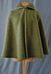 Cloak:2755, Cloak Style:Full Circle Short Cloak, Cloak Color:Olive Green, Fiber / Weave:Fleece, Cloak Clasp:Vale, Hood Lining:Unlined, Back Length:30&quot;, Neck Length:18&quot;, Seasons:Winter, Fall, Spring, Note:This fleece cloak is perfect for<br>cool, windy climates.<br>Machine washable cold, gentle tumble dry low.<br>Throw it on and go!.
