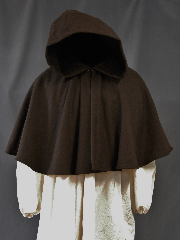 Cloak:2756, Cloak Style:Full Circle Short Cloak, Cloak Color:Brown, Fiber / Weave:80/20 Wool Blend, Cloak Clasp:Plain Rope<br>Hook & Eye, Hood Lining:Unlined, Back Length:18.5&quot;, Neck Length:20&quot;, Seasons:Winter, Fall, Spring, Note:This short full circle cloak is perfect<br>for adding just a touch of drama and elegance.<br>Made from a Brown nylon/wool<br>this cloak is soft, unlined<br>and finished off with a Hook and Eye.<br>Dry Clean only.