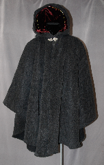 Cloak:2764, Cloak Style:Cape / Ruana extra long over the shoulder, Cloak Color:Grey and Black, Fiber / Weave:Plush 100% Wool Melton  with herringbone Pattern, Cloak Clasp:Triple Medallion, Hood Lining:Burgundy Velvet, Back Length:43&quot;, Neck Length:24&quot;, Seasons:Winter, Fall, Spring, Note:This gorgeous Plush Wool Melton with<br>herringbone Pattern has a lovely Scottish Irish look.<br>A cross between a cape and a cloak, a ruana<br>is a great way to keep warm while frequent,<br> unhindered use of your arms is needed.<br>Ruanas make great driving cloaks!<br>Dry Clean only.