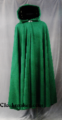 Cloak:2765, Cloak Style:Full Circle Cloak, Cloak Color:Kelly Green, Fiber / Weave:80/20 Wool Blend, Cloak Clasp:Vale, Hood Lining:Black Silk Velvet, Back Length:53&quot;, Neck Length:22&quot;, Seasons:Winter, Fall, Spring, Note:This full circle cloak adds<br>a touch of drama and elegance.<br>Features a Black silk velvet lined hood,<br>finished off with a with a classic<br>Vale hook-and-eye clasp.<br>Dry Clean only..