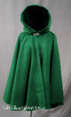 Cloak:2768, Cloak Style:Full Circle Short Cloak, Cloak Color:Kelly Green, Fiber / Weave:80/20 Wool Blend, Cloak Clasp:Vale, Hood Lining:Unlined, Back Length:34.5, Neck Length:19&quot;, Seasons:Winter, Fall, Spring, Note:This short full circle cloak<br>adds a touch of drama and elegance.<br>Finished off with a with a classic<br>Vale hook-and-eye clasp.<br>Dry Clean only..