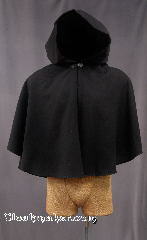 Cloak:2777, Cloak Style:Full Circle Short Cloak, Cloak Color:Black, Fiber / Weave:100% Worsted Wool Suiting (washed)<br> with a tiny diamond pattern (called Birdseye), Cloak Clasp:Antiquity, Hood Lining:Unlined, Back Length:26&quot;, Neck Length:18&quot;, Seasons:Summer, Fall, Spring, Note:Machine wash cold, gentle<br>Line Dry.