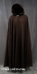 Cloak:2779, Cloak Style:Full Circle Cloak, Cloak Color:Soft Mushroom Brown, Fiber / Weave:80% Wool / 20% Nylon plush coating, Cloak Clasp:Vale, Hood Lining:Unlined, Back Length:55&quot;, Neck Length:22&quot;, Seasons:Southern Winter, Fall, Spring, Note:Cuddly soft full circle in a neutral<br>brown with dark grey tones,<br>this cloak drapes beautifully<br>and feels wonderful.<br>Dry clean..