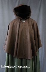 "Cloak:2782, Cloak Style:Cape / Ruana, Cloak Color:Deep Chocolate Brown, Fiber / Weave:80% wool, 20% nylon, Cloak Clasp:Vale, Hood Lining:Unlined, Back Length:29"", Neck Length:21"", Seasons:Summer, Fall, Spring."