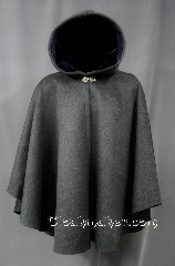 Cloak:2789, Cloak Style:Cape / Ruana, Cloak Color:Grey, Fiber / Weave:Brushed Heavyweight Wool Coating, Cloak Clasp:Vale, Hood Lining:Steel Blue Velvet, Back Length:35&quot;, Neck Length:20.5&quot;, Seasons:Fall, Winter, Spring, Note:A cross between a cape and a cloak,<br>a ruana is a great way to keep warm while<br>frequent, unhindered use of your arms<br>is needed.<br>Ruanas make great driving cloaks!<br>Dry Clean Only..