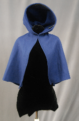 Cloak:2790, Cloak Style:Half Circle Hobbit Cloak with liripipe, Cloak Color:Blue, Fiber / Weave:100% Wool, Cloak Clasp:TBD, Hood Lining:Unlined, Back Length:22&quot;, Neck Length:17&quot;, Seasons:Spring, Fall, Southern Winter, Winter, Note:Perfect Starter cloak for a child.<br>Open in the front for ease of movement<br>with a pointed Liripipe/ travelers hood.<br>Good for cool evenings for a fun addition to any wardrobe.<br>Dry Clean Only. The cost of the clasp is included..