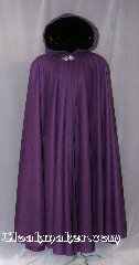 Cloak:2794, Cloak Style:Full Circle Cloak, Cloak Color:Purple, Fiber / Weave:80% Wool / 20% Nylon, Cloak Clasp:Triple Medallion, Hood Lining:Black Silk Velvet, Back Length:56&quot;, Neck Length:22&quot;, Seasons:Fall, Spring, Note:This mid weight cloak is perfect<br>for cool evenings adding a touch of dramatic flair.<br>Made from 80% Wool/20% Nylon with a soft feel.<br> Features a Black silk velvet lined hood,<br>finished off with a with a<br>Triple Medallion hook-and-eye clasp.<br>Can be hemmed to desired length.<br>Dry Clean only,.