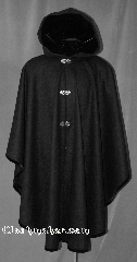 Cloak:2795C, Cloak Style:Ruana Cloak Casco Bay inspired<br>Made to order, Cloak Color:Black, Fiber / Weave:100% Cashmere, Cloak Clasp:Vale, Hood Lining:Velvet, Back Length:Made to Order<br>Please allow 6-8 weeks to create the cloak, Neck Length:Made to Order<br>Please allow 6-8 weeks to create the cloak, Seasons:Fall, Spring, Note:Inspired by the former<br>Casco Bay Works in Portland. Maine.<br>This gorgeous Ruana cloak can be<br>made to order in either wool or cashmere<br>in a variety of colors and detail.<br>This example is made of<br>100% cashmere and suited for<br>fall to winter weather.<br>Warmer and softer than wool by weight.<br>Featuring a black velvet lining<br>in the hood and black velvet edging,<br>it is finished with three hook-and-eye<br>Vale clasps<br>Made to order with your specific colors and details<br>Please allow 6-8 weeks to create the cloak.