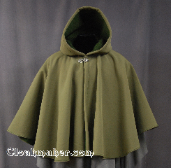 Cloak:2801, Cloak Style:Full Circle Short Cloak, Cloak Color:Olive, Fiber / Weave:Power Shield / Polyester, Cloak Clasp:Vale, Hood Lining:Fleece, Back Length:26&quot;, Neck Length:20&quot;, Seasons:Winter, Spring, Fall, Note:Water resistant heavy duty<br>Power shield cloak in olive green.<br>Great for children and adults<br>who enjoy outdoor activities.<br>With a soft matching fleece lining<br>this cloak will keep you warm and<br>protected from most weather.<br>Machine washable tumble dry hang..